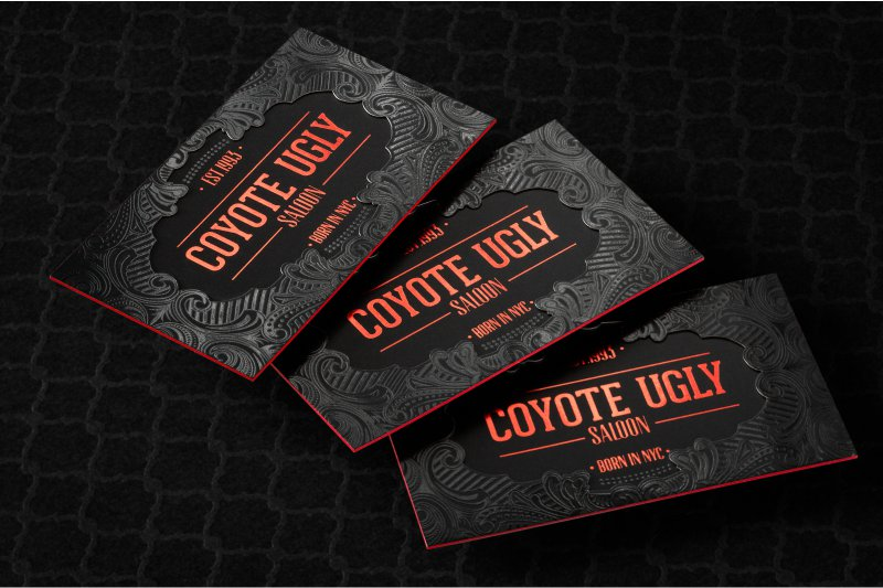 Thick business cards luxury customized double layered thick silk business card with spot uv red foil and red colored edges reheart Image collections