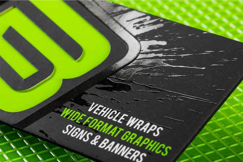Spot uv business cards make your brand more eye catching thick silk business card with die cut spot uv and colored edges wajeb Image collections