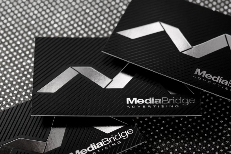 Spot uv business cards make your brand more eye catching thick silk business card with silver foil and spot uv reheart Image collections