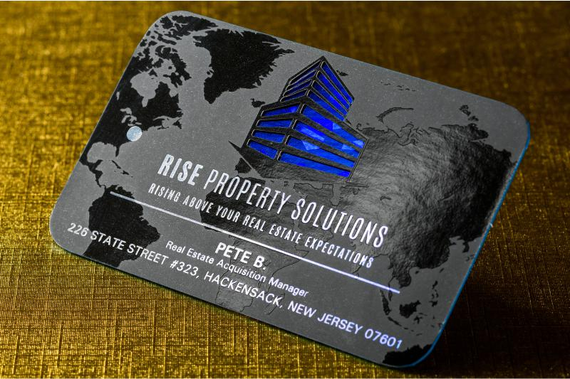 Foil business cards add a shine to your cards 4colorprint thick silk business card with die cut spot uv blue foil and blue colored edges colourmoves