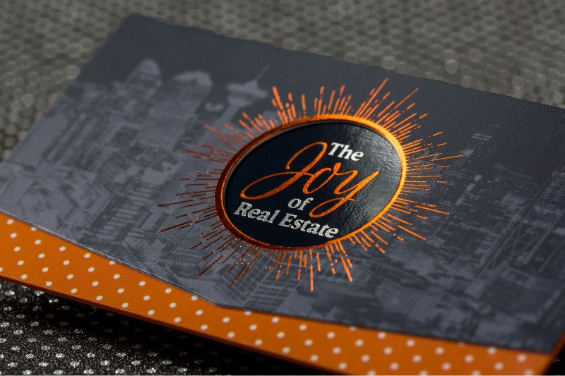 Foil business cards add a shine to your cards 4colorprint ultra thick silk business cards with die cut black orange silver foils and metallic copper colored edges colourmoves