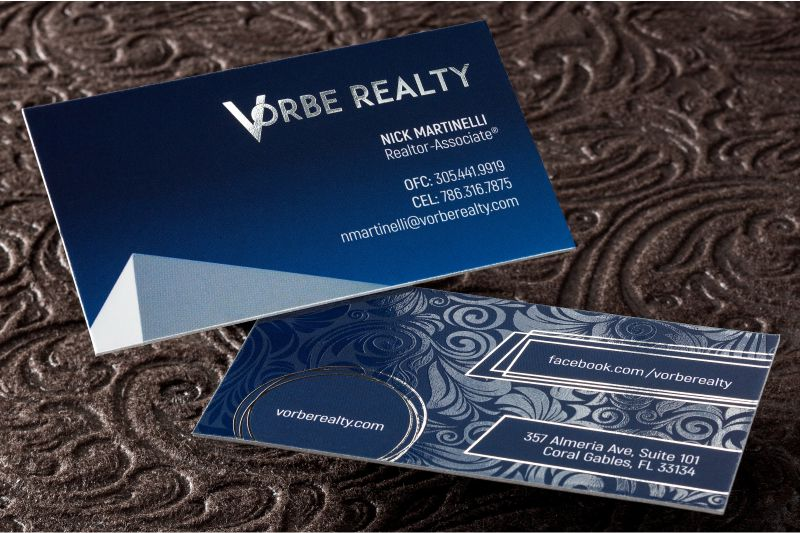 Foil business cards add a shine to your cards 4colorprint thick suede business card with spot uv silver foil and silver colored edges reheart Choice Image