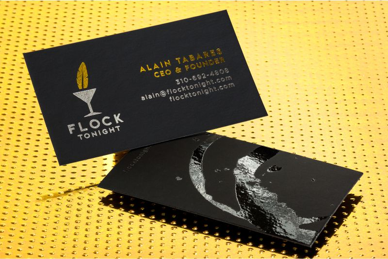 Foil business cards add a shine to your cards 4colorprint onyx suede business cards with spot uv and gold silver foils reheart Choice Image