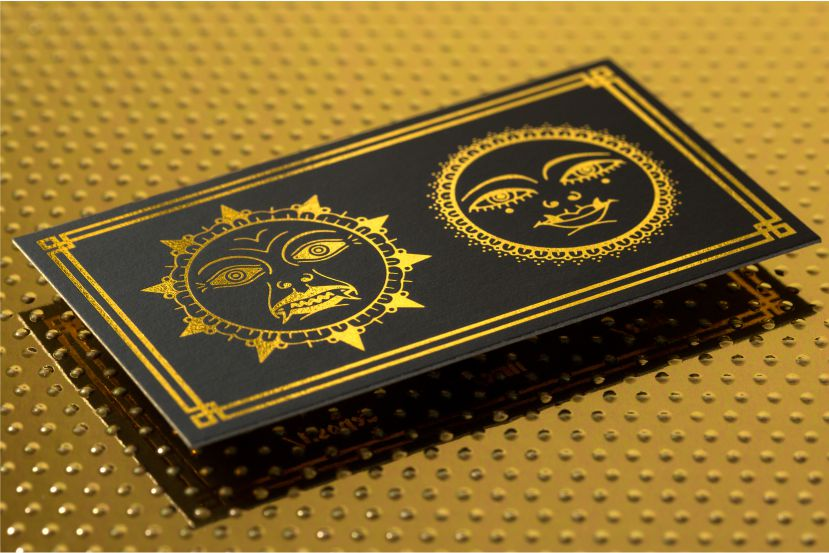 Foil business cards add a shine to your cards 4colorprint onyx suede business cards with gold foil colourmoves