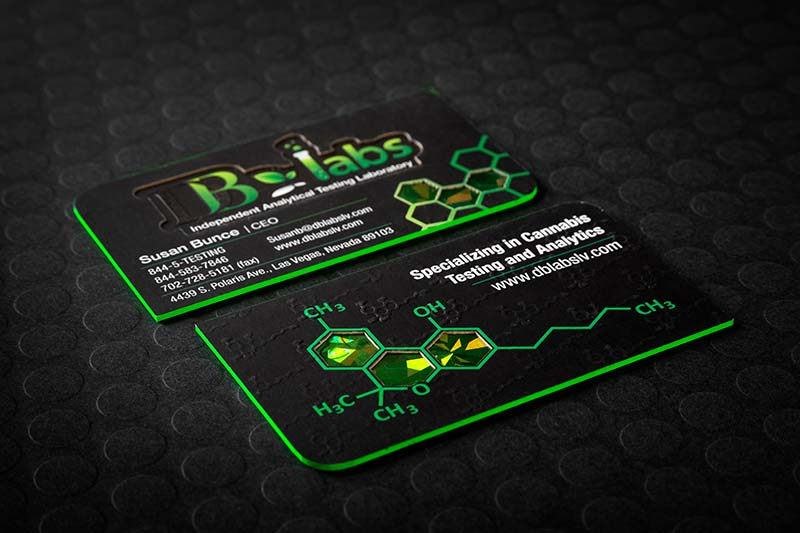 Ultra thick business cards a solid presence among your competition ultra thick silk business cards with custom die cut green color edging and embossing reheart Image collections