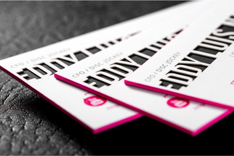 Ultra thick business cards a solid presence among your competition ultra thick silk business cards with laser die cut and pink colored edges colourmoves