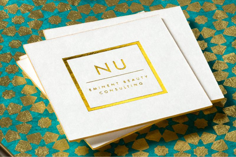 Ultra Thick Letterpress Business Cards With Square Shape, Gold Foil And  Colored Edges ...
