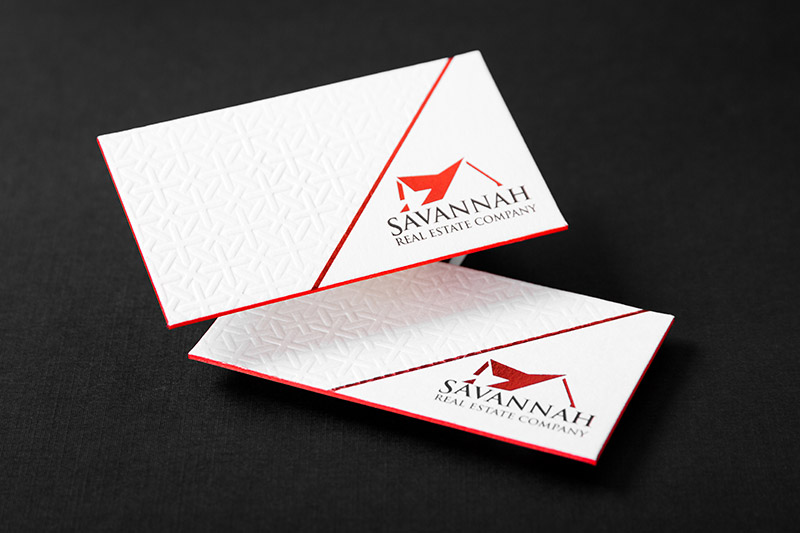 Letterpress business cards an elegant old world look 4colorprint letterpress business card with debossing red foil and red colored edges reheart Images