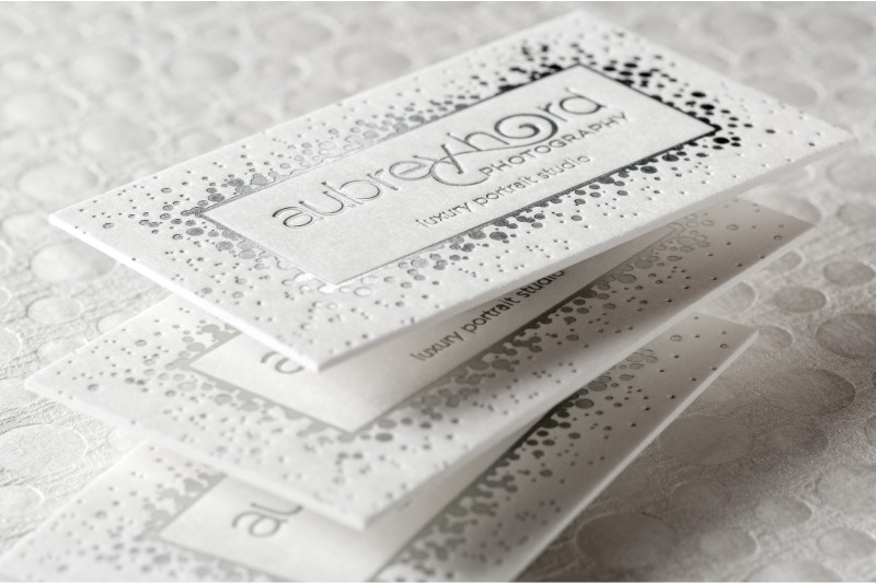 Letterpress business cards an elegant old world look 4colorprint ultra thick letterpress business cards with silver foil reheart Images