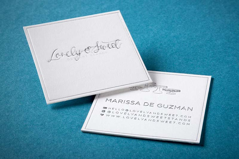 Letterpress business cards an elegant old world look 4colorprint letterpress business card with debossing square cut and silver foil colourmoves Image collections