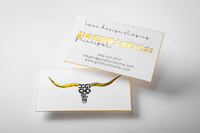Letterpress business cards an elegant old world look 4colorprint letterpress business card with custom die cut gold foil and gold colored edges colourmoves