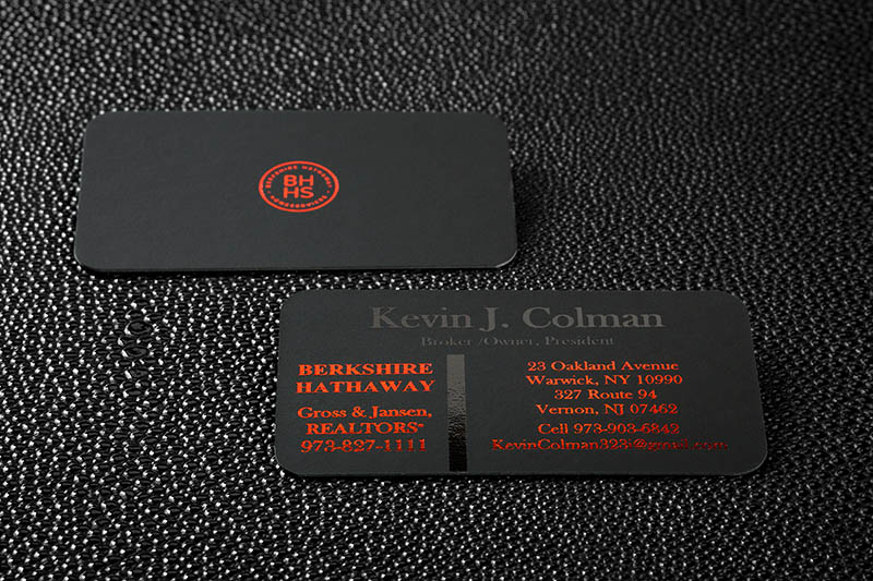 Onyx black suede business craft elegance into your cards with a onyx suede business cards onyx suede with rounded corner and red foil colourmoves