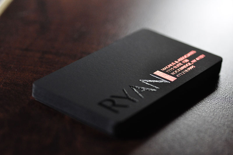 Onyx black suede business craft elegance into your cards with a onyx suede business cards with orange silver foils and spot uv colourmoves