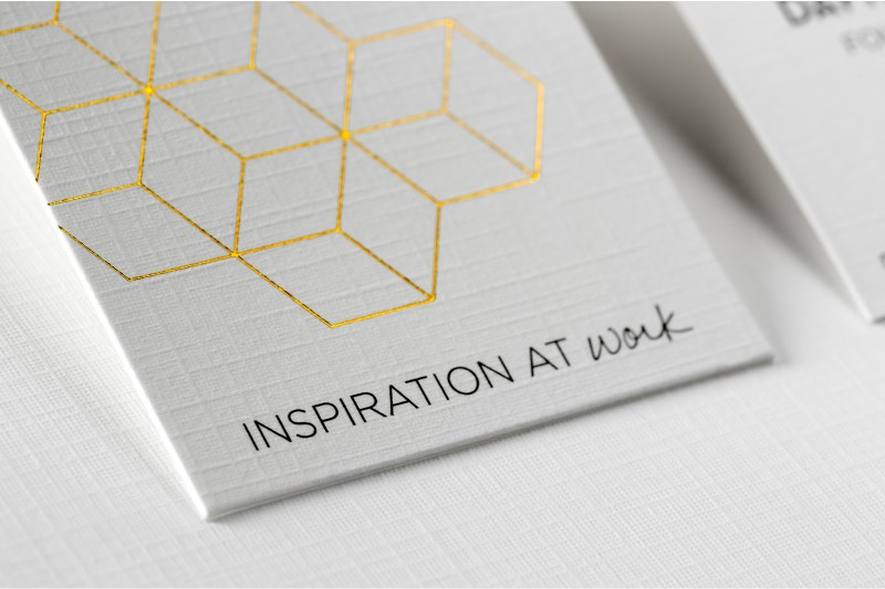 thick linen business card with gold foil - Linen Business Cards