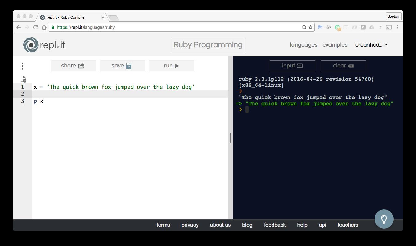 Using Strings In Ruby