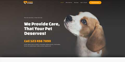 Pet Sitting Astra Starter Site - Clickable call to actions