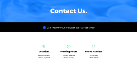 HVAC Astra Elementor Starter Site - Contact info which stands out