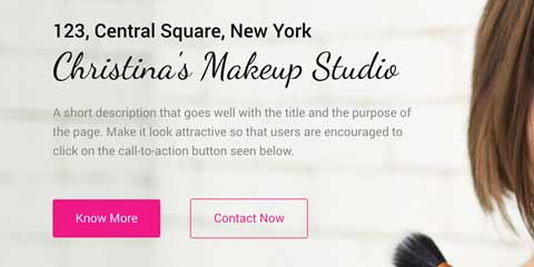 Makeup Artist Astra Starter Site - Eye-catching call-to-actions
