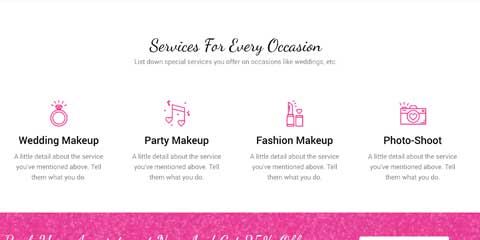 Makeup Artist Astra Starter Site - Service overview