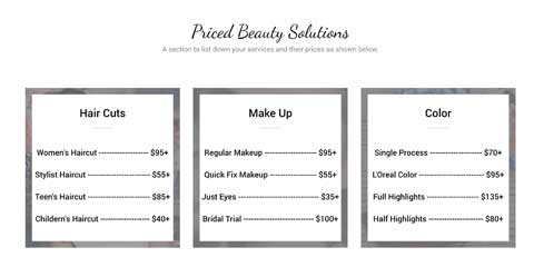 Makeup Artist Astra Starter Site - Pricing overview