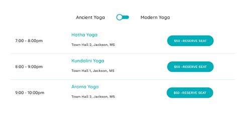 Yoga Studio Astra Starter Site - Class schedule page