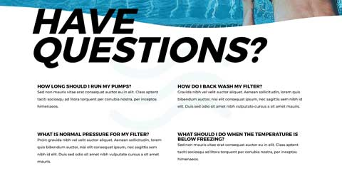 Swimming Pool Astra Starter Site - Frequently asked questions