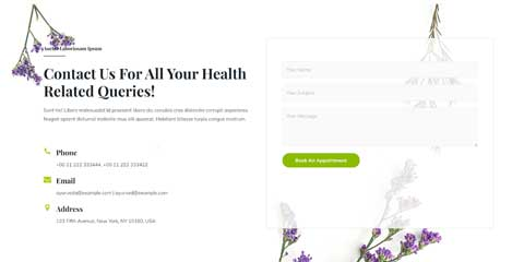 Ayurveda Astra Starter Site - Contact section