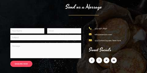 Sweet Shop Astra Starter Site - Integrated contact form
