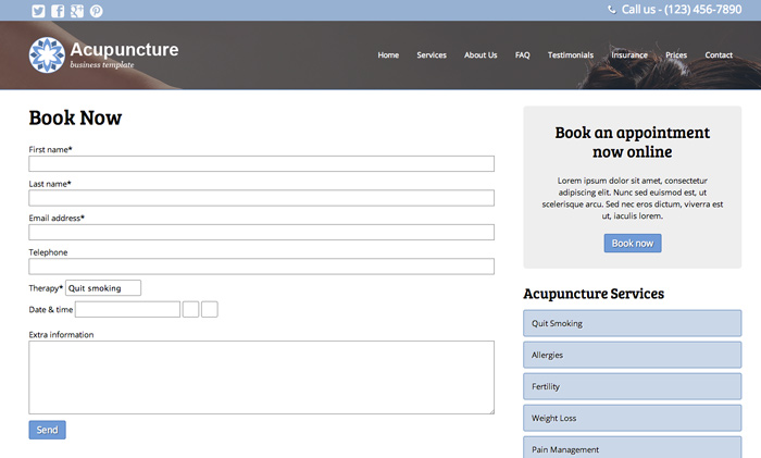 Acupuncture WordPress Theme - Online appointment booking
