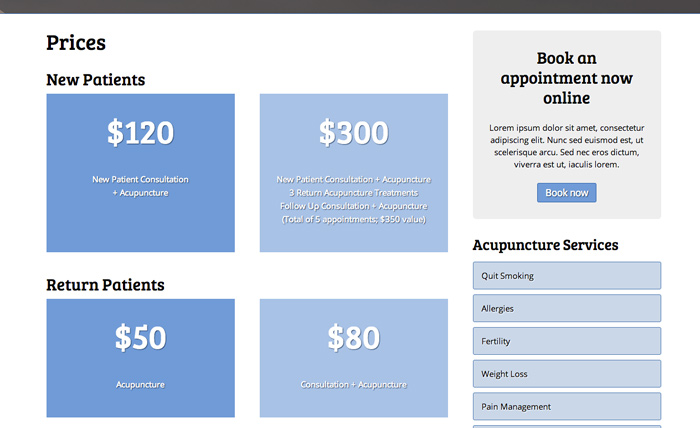 Acupuncture WordPress Theme - Clean rates overview