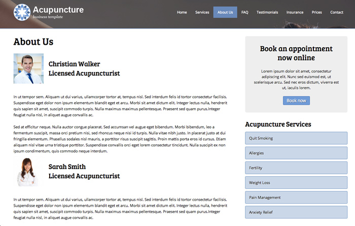 Acupuncture WordPress Theme - Team page