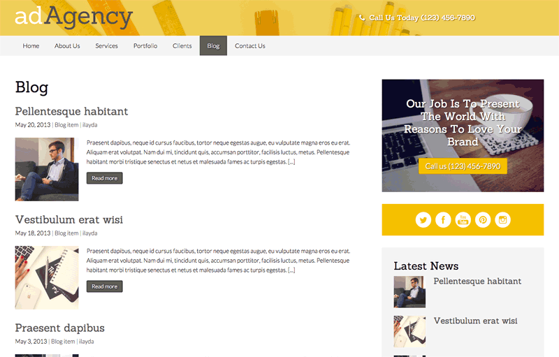 Ad Agency WordPress Theme - Classic blog included