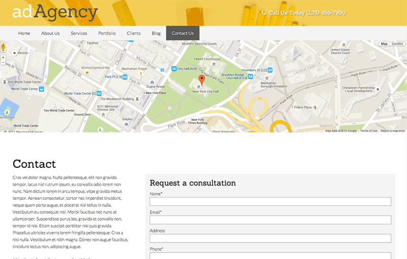 Ad Agency WordPress Theme - Contact section