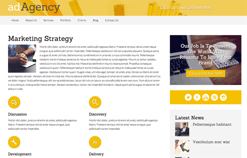 Ad Agency WordPress Theme - Detailed service pages