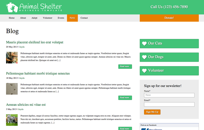 Animal Shelter WordPress Theme - Classic news overview