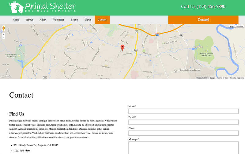 Animal Shelter WordPress Theme - Contact info which stands out