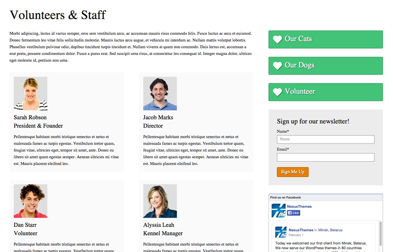Animal Shelter WordPress Theme - Staff overview