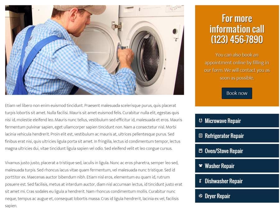 Appliance Repair WordPress Theme - For appliance store owners