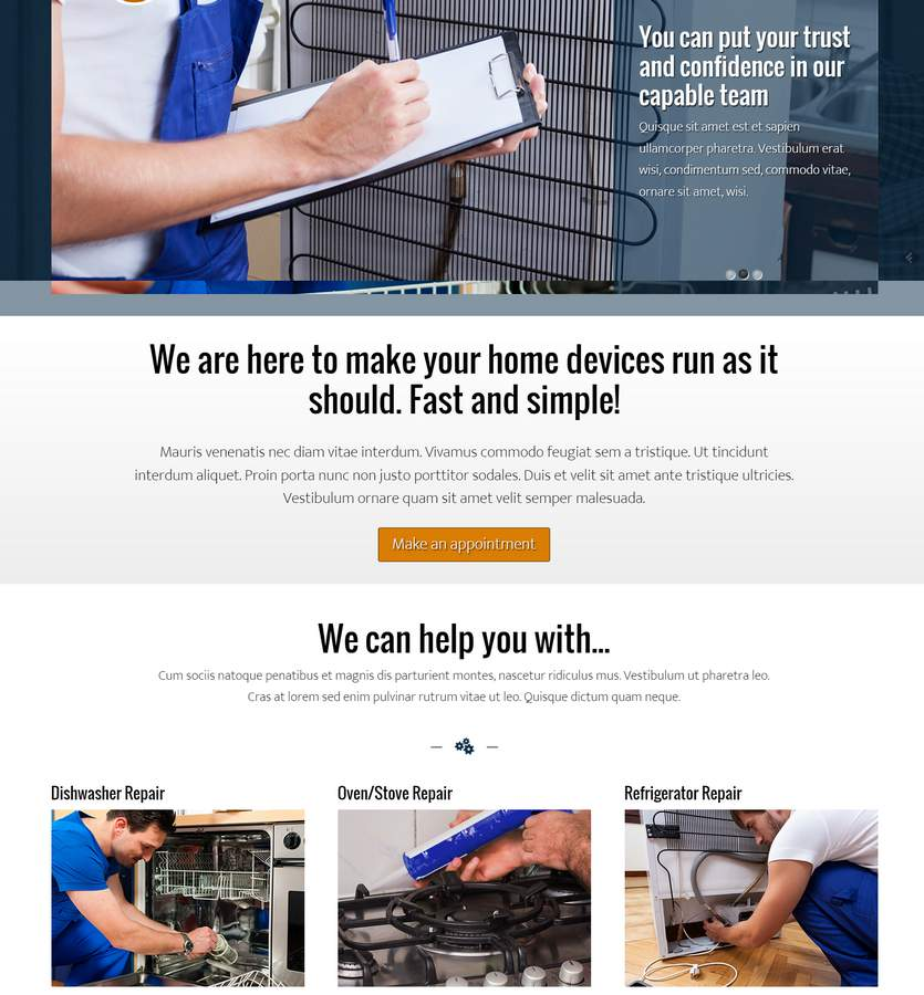 Appliance Repair WordPress Theme - Bold, professional design