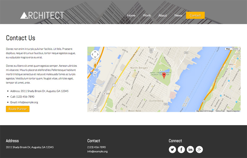 Architect WordPress Theme - Contact and route planner