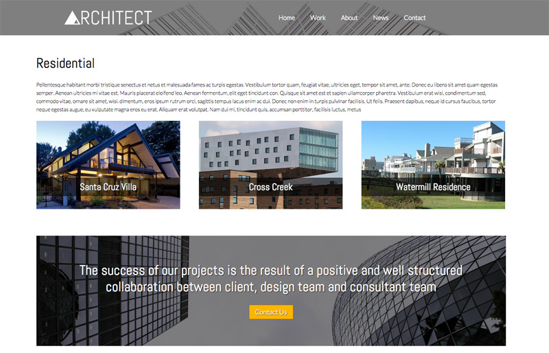 Architect WordPress Theme - Project overview page