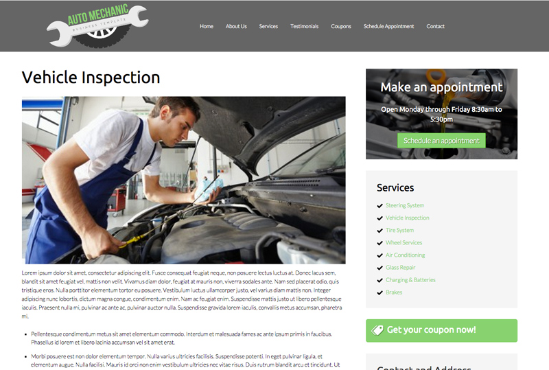 Auto Mechanic WordPress Theme - Detail pages for services