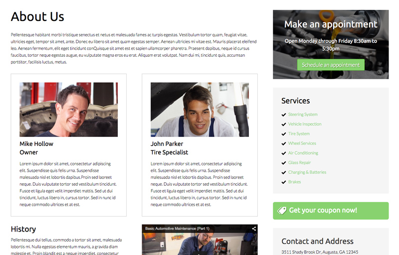 Auto Mechanic WordPress Theme - Introduce your service station owners