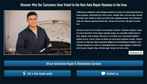 Auto Repair WordPress Theme - Call-to-actions