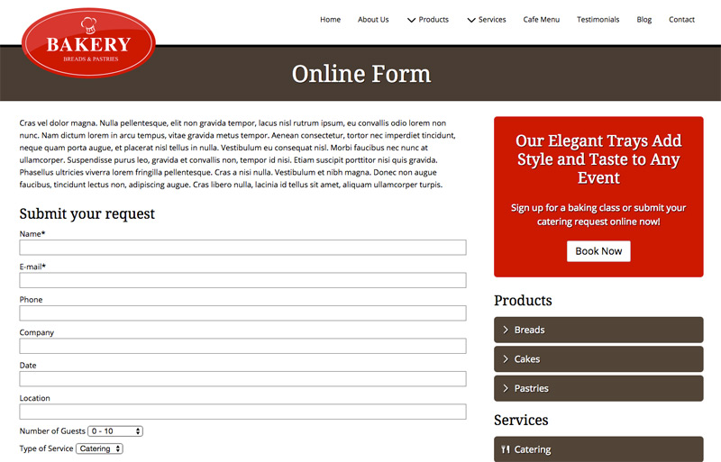 Bakery WordPress Theme - Catering form