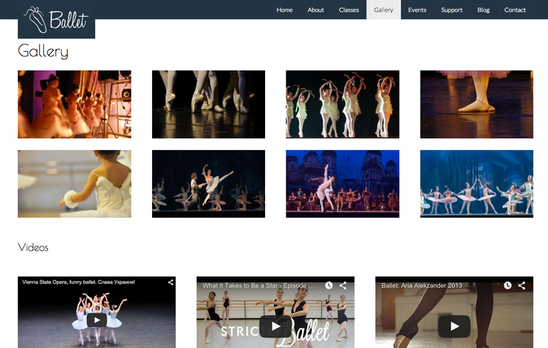 Ballet WordPress Theme - Image gallery