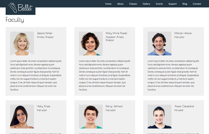 Ballet WordPress Theme - Staff bio page