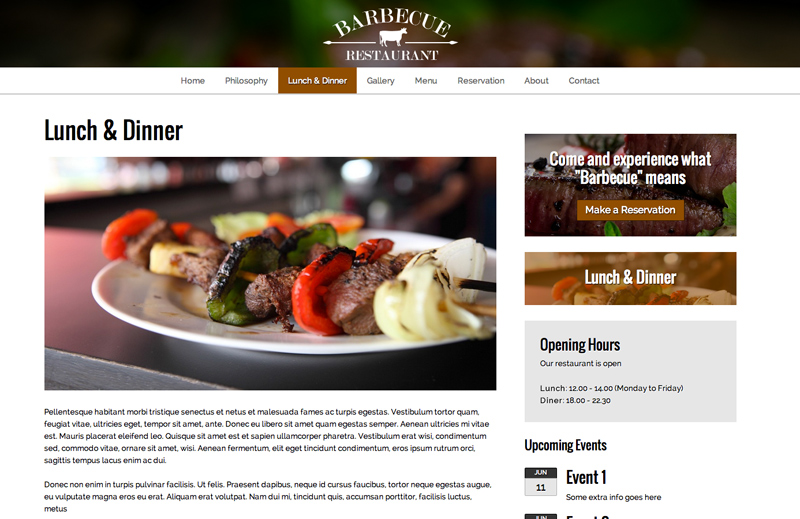 Bbq Restaurant WordPress Theme - Strong service pages