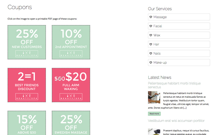 Beauty Spa WordPress Theme - Promotions page