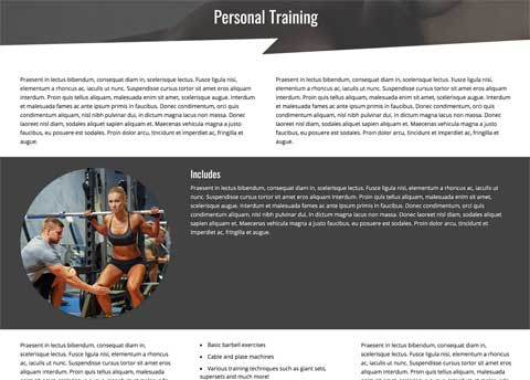 Bodybuilding WordPress Theme - Appealing service pages